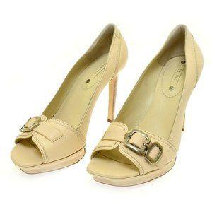 Celine Ivory Cream Tall Leather Women's Heels Vanilla Pep Toe Pump Euro 40